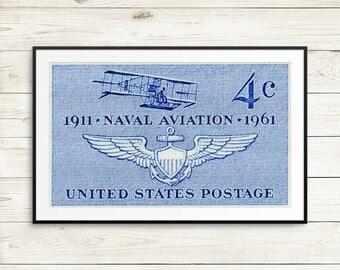 Naval aviation poster, aviation prints, pilot gift ideas, Navy wall art, Curtiss biplane art print, vintage airplane gift ideas, pilot gifts