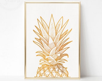 Gold Pineapple Print Art, Gold Pineapple Party, Gold White Wall Art, Gold Poster Art, Printable Pineapple Wall Art, Gold Pineapple Decor