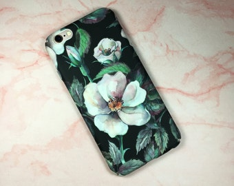 iPhone 6 / 6s case. Camelia flower floral hard cover for iphone. Glow in dark!