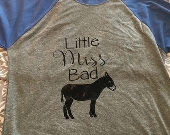 Little Miss Bad Ass Ladies Raglan Tee, Girl Power Raglan T-shirt, Ladies Fitted Raglan Shirt, Ladies Baseball Tee, Little Miss Bad Ass Shirt