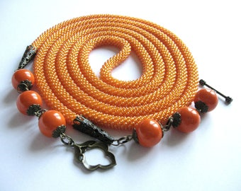 Long Beaded Orange Crochet Rope Necklace Lariat Beadwork Necklace Beaded Rope Necklace Long Orange Color Style Necklace Jewelry