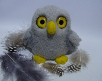 Gray owl needle felted