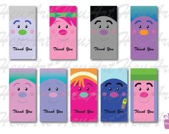 Trolls Thank You Tag, Gift Tag, Trolls, Trolls Clipart, Printables, Trolls Printables, Trolls Prints, Trolls Gift Tag, Party, Party Gift Tag