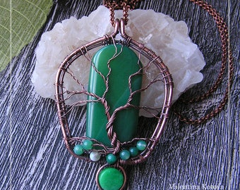 Green Agate Pendant, Tree of Life Green Agate Pendant,  Tree of Life Necklace, Green Agate Necklace, , Gift For Her