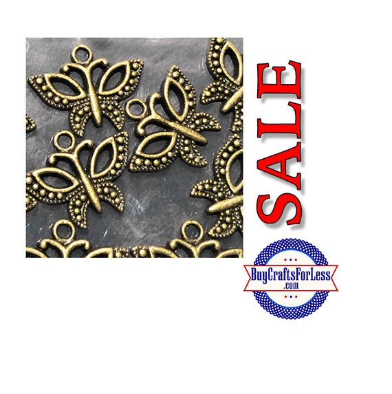 "SALE Bronze color butterfly charms, .75"", 12 pcs  **FREE Shipping with orders of 10dollars+**"