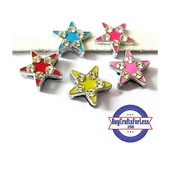 Rhinestone Slide Colored STARS for 8mm Slider BRACELET, Collars, Key Rings, Crafts +FREE Shipping & Discounts*