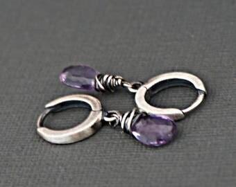 Briolette Moss Amethyst Gemstone Sterling Silver Earrings