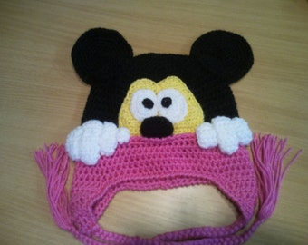 Minnie Mouse inspired hand crochet winter trapper hat with ear flaps Face Character Crochet Hat Mickey mouse hat