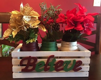 "Christmas ""Believe"" Crate with Jars"