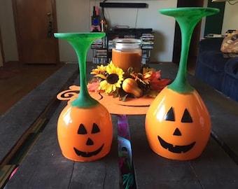 Set of 2 Decorative Pumpkin Glasses