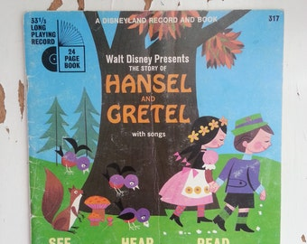 Walt Disney Hansel and Gretel book with record vintage 33 1/3 record