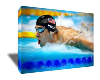 FREE SHIPPING Michael Phelps Go for GOLD Canvas Art