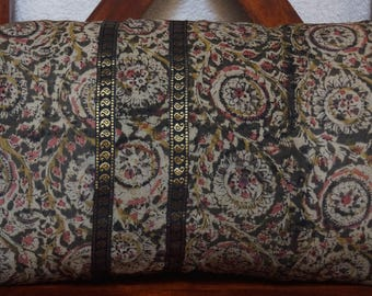Golconda series 4: cover 30x50cm (12 x 20 inches) cushion, cotton kalamkari Indian, floral, dark green Indian fabric.