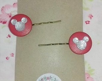Button Hair Clips/ Slides/Grips Mickey Mouse Red and Silver