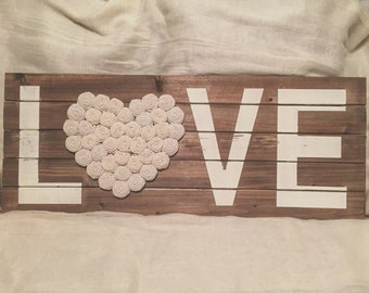 Rustic Love Sign, Wooden Sign, Burlap Sign, Burlap, Rustic Home Decor, Rustic Plaque, Distressed Wood, Rosette Flowers