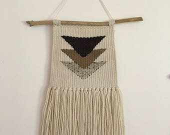 Neutral triangle design hand woven wall hanging
