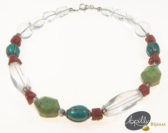 Necklace, crystal of rock, coral, turquoise, serpentine, silver