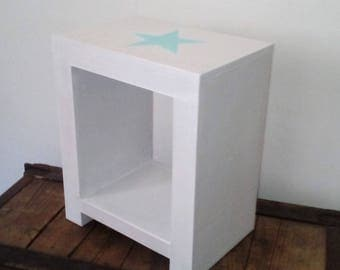 White and blue green bedside table for children