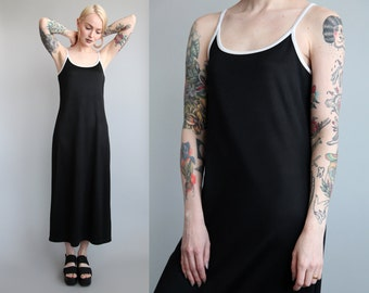Vtg 90s Minimalist Sporty Black Maxi Slip Dress sz M