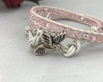 Pink  & silver beaded leather wrap bracelet - uk seller - handmade - friendship - teenager - humming bird