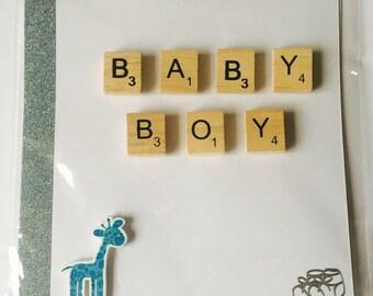 New Baby Boy Greetings Card, Blue Giraffe Card, Scrabble Tile Baby Card, Handmade Baby Shower Card