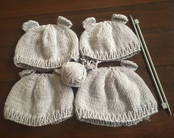 Grey baby and toddler beanies with ears