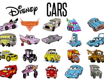 24 Disney's Cars Machine Embroidery Designs, 4 Inch Hoop Patterns, Lightning McQueen, Cars Embroidery, Mater Pattern, Instant Download