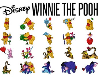 20 Disney's Winnie the Pooh Machine Embroidery Patterns, 4 Inch Hoop Designs, Pooh Bear, Tigger Pattern, Piglet Design, Instant Download