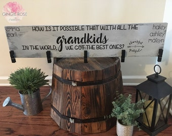 Best Grandkids/ Brag Board/ Grandkids Photo Holder/ Grandkids Picture Hanger/ Thankful for Grandkids