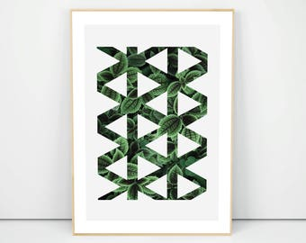 Geometry Botanical Poster, Housewarming Decor Gift, Triangles Poster, Dark Green Wall Decor, Scandinavian Prints, Triangle Pattern, A1 A2 A3