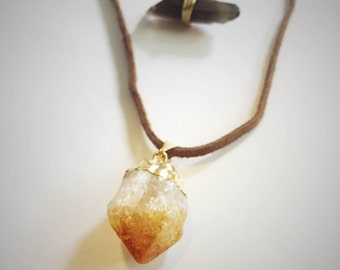 Double-Layered Citrine Crystal and Smoky Lemurian Quartz Necklace