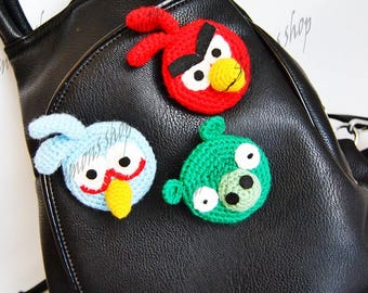 pin angry Birds crocheted angry Birds Brooch Needle angry Birds  Badge for a backpack