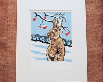 Winter Rabbit Lino Print