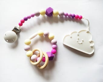 Silicone Binky Dummy Clip | Silicone Teether | Baby Teething | Mum Bracelet | BPA Free Jewellery | Chew Beads Toy | Baby Shower Gift