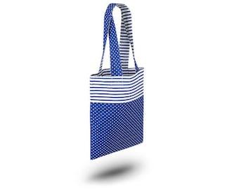 Cotton Bag Loxia Shopping bag Cotton tote bag  - Rainbow Dark Blue Polka dots