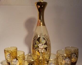 Vintage Bohemian Amber Glass Cordial Set - Serving 6