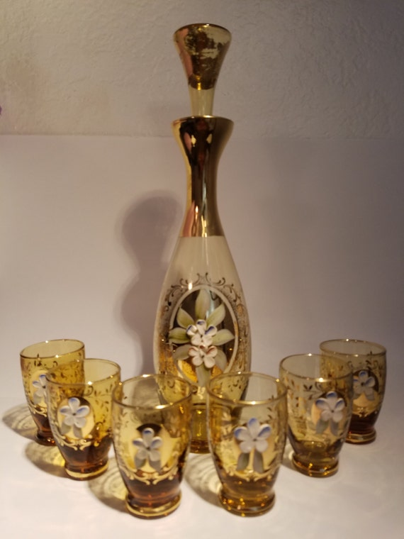 Vintage Bohemian Amber Glass Cordial Set - Serving 6