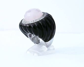 Big silver ring and multipierres