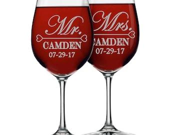 custom wine glasses wine glasses mr and mrs gifts mr and mrs - Etched Wine Glasses