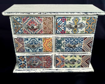 Jewelry box vintage mini chest of drawers shabby chic jewellery box rustic hand painted decoupage ornament antique box mini furniture