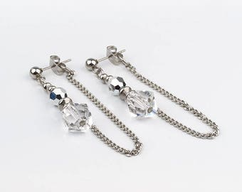 Earrings with crystals Swarovski and stainless steel.