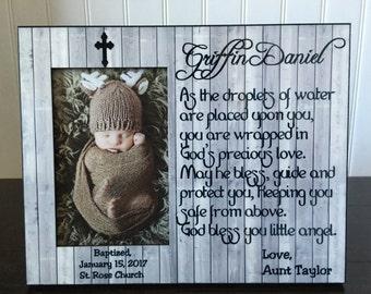 Godson baptism picture frame gift  // Christening gifts for a boy // baptism gift for godson // religious gift
