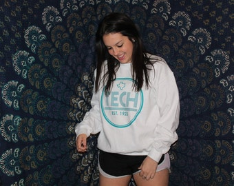 White and Teal College Sweatshirt