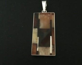 Amber mosaic pendant, genuine baltic amber pendant, rectangular pendant
