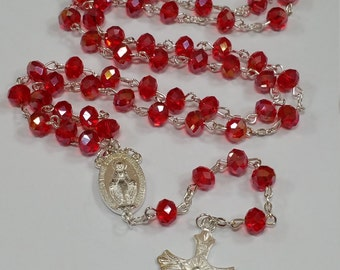 Red Glass Crystal Rosary Beads/ Prayer Beads/ Catholic Beads/ Religious Beads/ Fashion Beads With Cross Crucifix