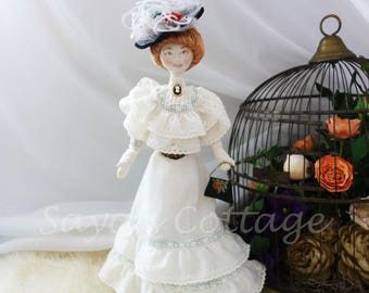 """Vintage 13"""" Victorian Lady Designer Cloth Doll Signed Dated Rag Doll Fabric Doll Handcrafted Hand made Hand sewn  Collectible Doll OOAK"""