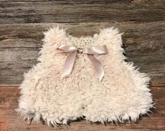 Baby Fur Vest, Baby Faux Fur Vest, Reversible Baby Fur Vest, Girls fur vest, Kids fur vest -  in Champagne - 6 mo - 5 yrs.