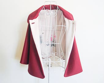 Wine red wool cape with vintage kimono silk lining - pink flowers