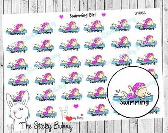 Swimming - Planner Stickers for Erin Condren, Happy Planner, Kikkik, Filofax (S106)