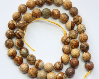 8mm Picture Jasper Faceted Rounds 15 inch Strand 46 Beads Stone Gemstone